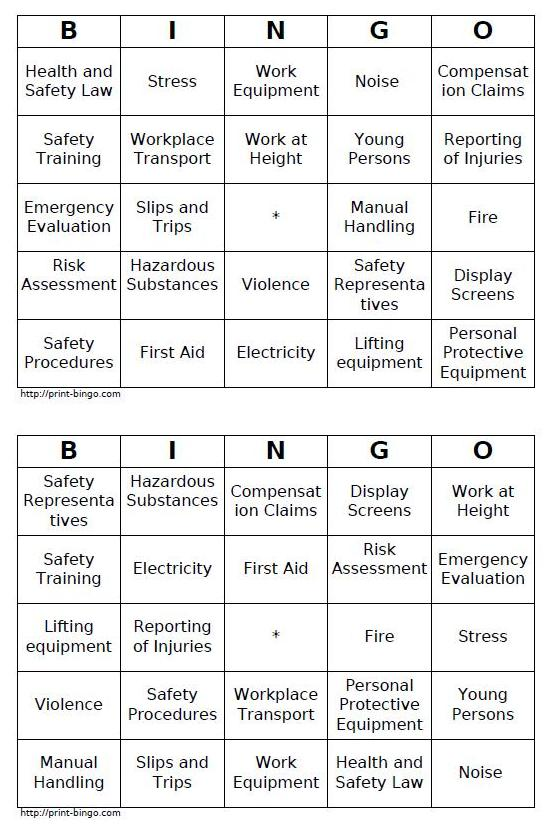 Some Emerging Guidance On Smart Safety Bingo Cards Methods